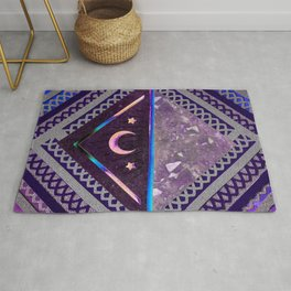 Purple Lace Moon Collage Rug