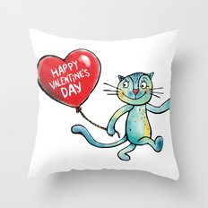 Happy Valentine's Day - Balloon heart and a kitten Throw Pillow
