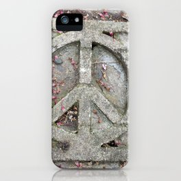 Peace sign on sidewalk in California iPhone Case