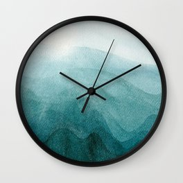Sunrise in the mountains, dawn, teal, abstract watercolor Wall Clock