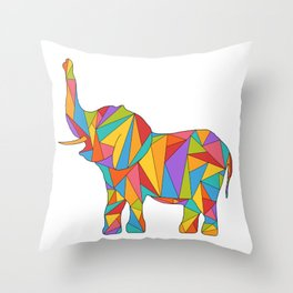 Big, bright, and colorful elephant - polychromatic animal Throw Pillow