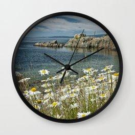Daisies on Maine's Acadia Shoreline Wall Clock