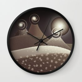 Fantasy Moonlit Mountains in browns Wall Clock