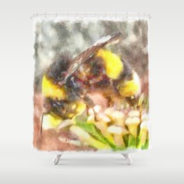 Busy Busy Busy Watercolor Shower Curtain