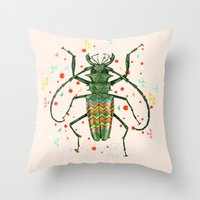 insect Throw Pillows featuring Insect V by dogooder