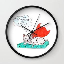 Super cat napping Wall Clock