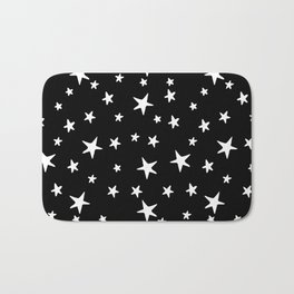 Stars - White on Black Bath Mat