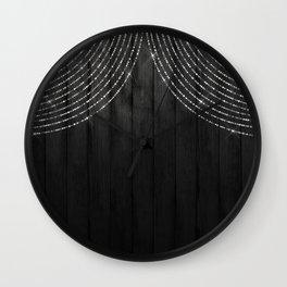 Fairy Lights on Wood 06 Wall Clock