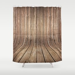 Realistic wood background Shower Curtain