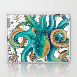 Teal Octopus Tentacles Vintage Map Nautical Laptop & iPad Skin