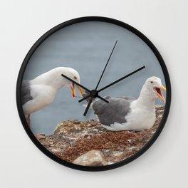 Noisy Gulls Wall Clock