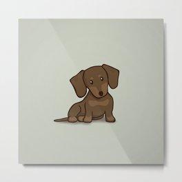 Daschund Puppy Illustration Metal Print
