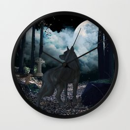 The lonely wolf in the dark night Wall Clock