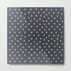 Gold Dots on Blue Metal Print