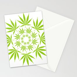 Cannabis Leaf Circle (White) Stationery Cards