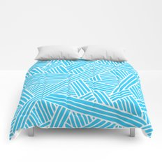 Abstract Teal & white Lines and Triangles Pattern-Mix and Match with Simplicity of Life on #Society6 Comforters