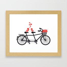 Cute birds on bicycle Framed Art Print
