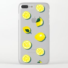 60s Lemon Pattern on Olive Clear iPhone Case
