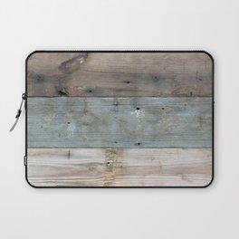 Rustic Western Country Barnwood Farmhouse Chic Grey Teal Beige Beach Wood Laptop Sleeve