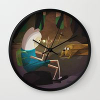 finn and jake Wall Clocks featuring Finn & Jake by modHero