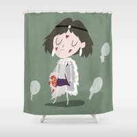 princess mononoke Shower Curtains featuring Princess Mononoke by Rod Perich