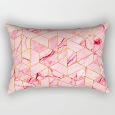 Pink Marble Hexagonal Pattern Rectangular Pillow