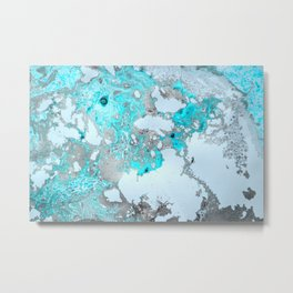 Metallic silver and turquoise marble  Metal Print