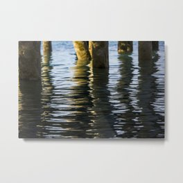 Water reflection under the dock Metal Print