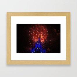 castle in red white and blue Framed Art Print