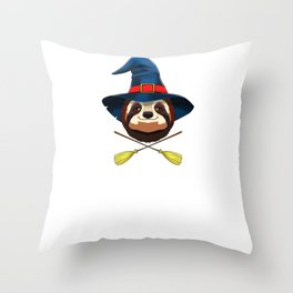 Witch Sloth, It's Show Time Funny Halloween Horror Scary Throw Pillow