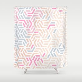 Pastel Deco Hexagon Pattern - Gold, pink & grey #pastelvibes #pattern #deco Shower Curtain