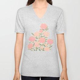 Pink peonies vintage pattern Unisex V-Neck