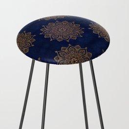 N253 - Indigo Royal Blue Heritage Oriental Moroccan Golden Floral Artwork Counter Stool