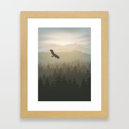 mountain forest in fog and sunrise with stars Framed Art Print
