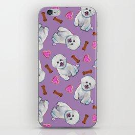 Bichon Frise Love Pattern on Lavender iPhone Skin