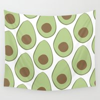 avocado Wall Tapestries featuring Avocado by LEIGH ANNE BRADER
