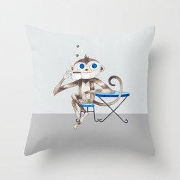 Monkey enjoys coffee smell Throw Pillow