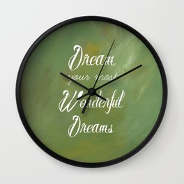 Dream Your Most Wonderful Dreams - Quote - Tattoo Style Font - Greenery Mist Wall Clock