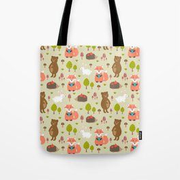 Hand drawn modern coral white green autumn animal Tote Bag