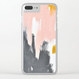 Gray and pink abstract Clear iPhone Case