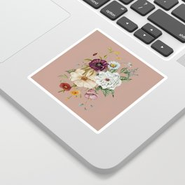 Colorful Wildflower Bouquet on Pink Sticker