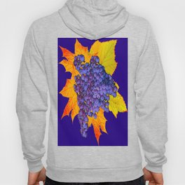 Decorative Purple Concorde Grapes On Golden Leaves Hoody