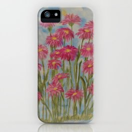 Asters Acrylic Floral Painting by Rosie Foshee for wall decor, and to share by stationary & stickers iPhone Case