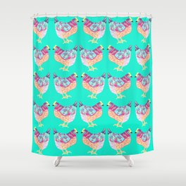 Colorful Chickens With Aqua Background Shower Curtain