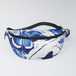 blue tropical leaves Fanny Pack