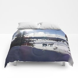Two Horses in the Snow Comforters