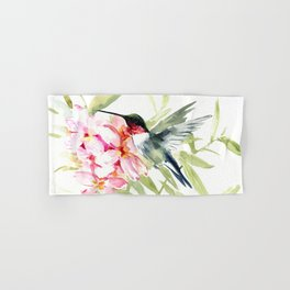Hummingbird and Plumeria Flowers Hand & Bath Towel