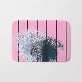 Yucca Plant in Front of Striped Pink Wall Bath Mat