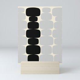 Abstraction_Balance_ROCKS_BLACK_WHITE_Minimalism_001 Mini Art Print