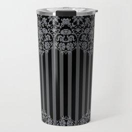 Black and Gray Floral Damask Pattern Travel Mug